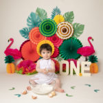 Baby photography cakesmash, Tropical theme with baby girl