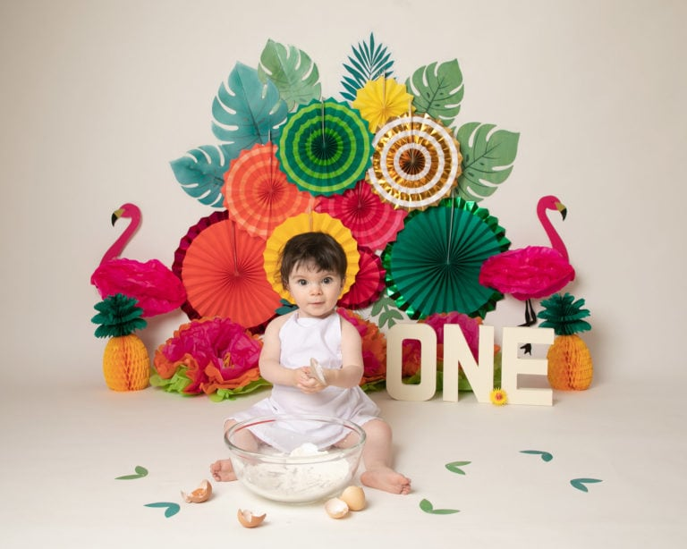 Baby photography cakesmash, Tropical theme with baby girl