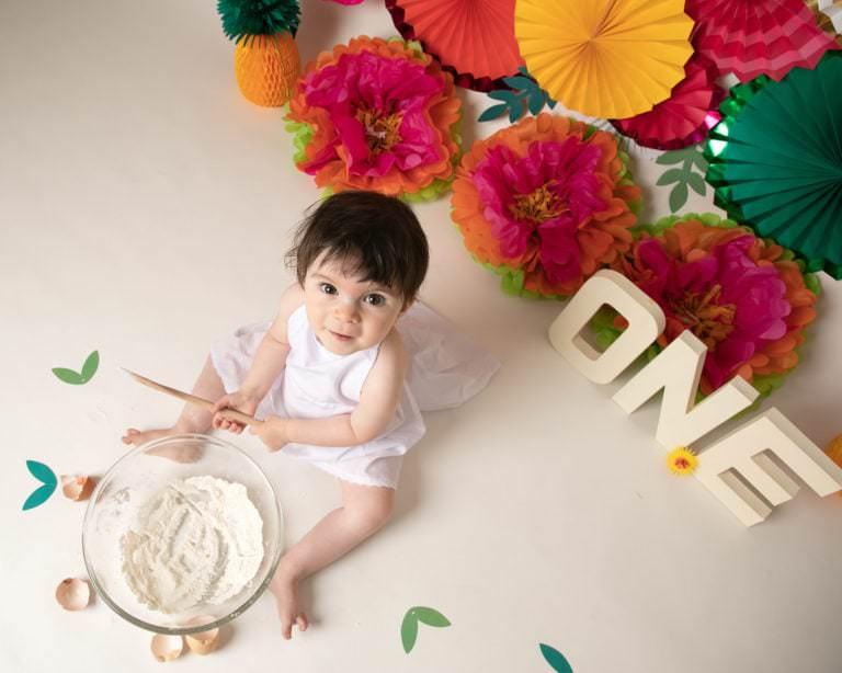 Baby photoshoot in Haywards Heath cakesmash, Tropical theme with baby girl