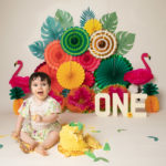 Baby photoshoot in Haywards Heath cakesmash, Tropical theme with baby girl