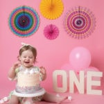 Pink cakesmash set up for baby photoshoot in Haywards Heath Sussex