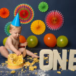 Bright colourful cakesmash photoshoot by Haywards Heath photographer