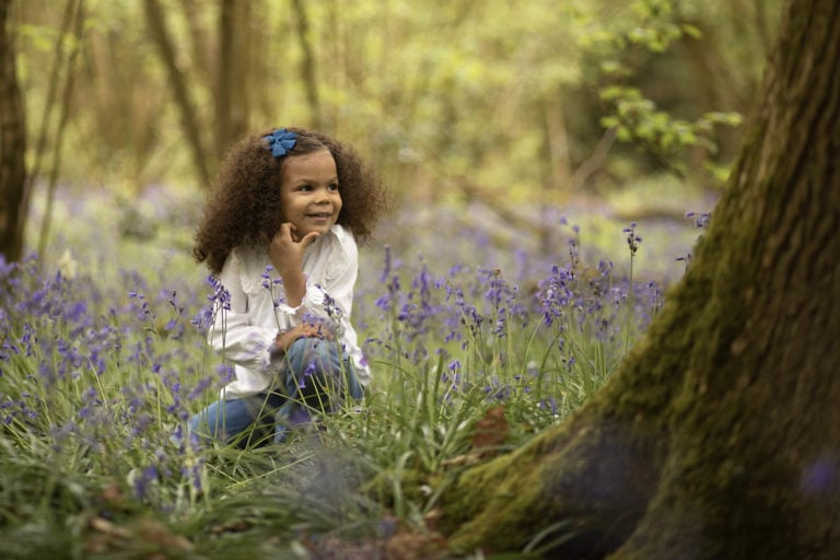 bluebell images of girl during family photographer Haywards Heath