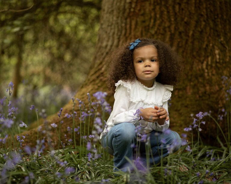Girl in bluebells by family photographer in Haywards Heath