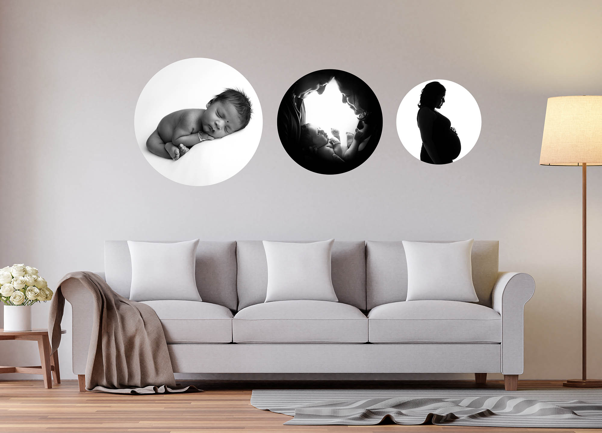 Scandanaviand living room witb circular black & white wall art, Images shown in the wall display are those taken by Glasgow Newborn Photoshoot