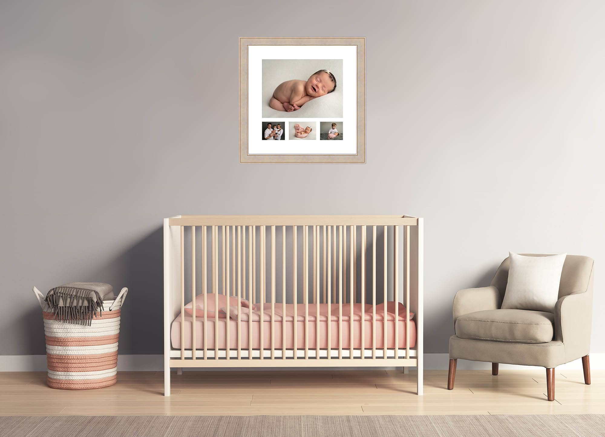 nursery scene with cot, basket and chair in front of the image. Multi image frame above the cot. Nurser is kitted out on cream, pink and grey tones. Image displaying products available after newborn photography session in Glasgow