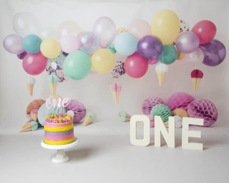 Cakesmash photoshoot balloon rainbow & icecream setup in Haywards Heath