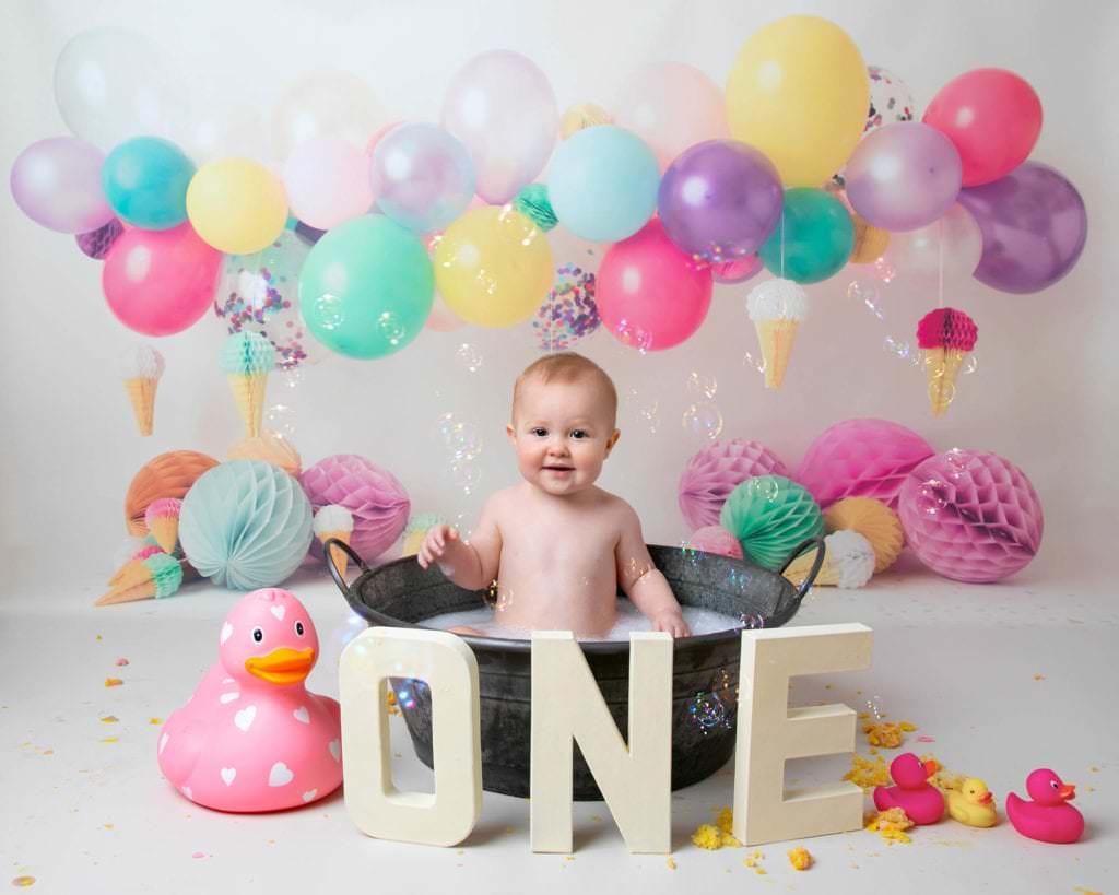 Rainbow balloons 1st birthday cakesmash Photoshoot Glasgow photographer