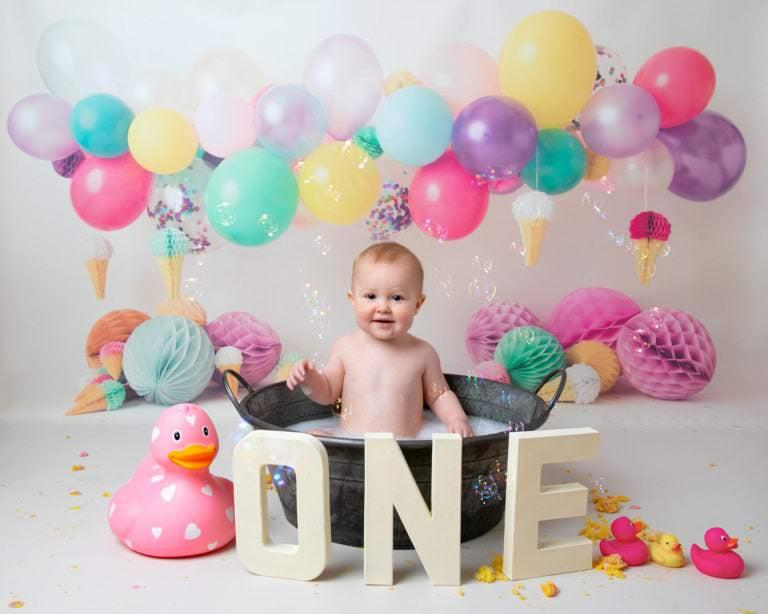 Rainbow balloons cakesmash Photoshoot Haywards Heath photographer