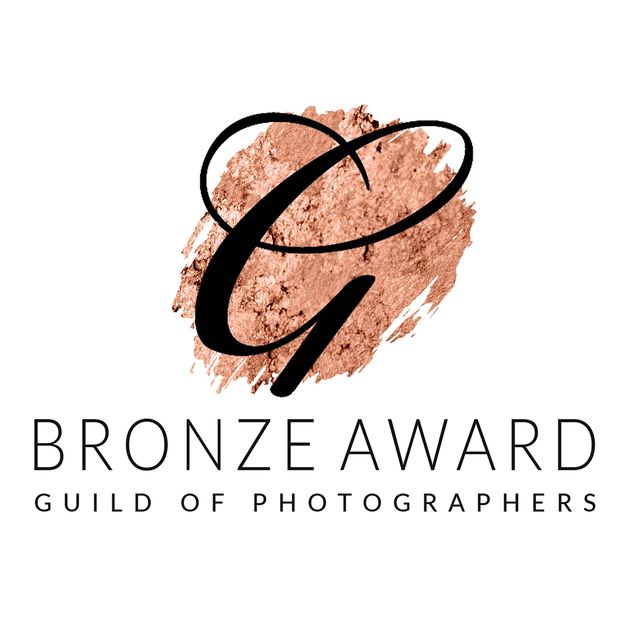 Bronze background with large G, Bronze Award. Guild of Photographers. This was awarded to Louise, Glasgow Baby Photographer for several images