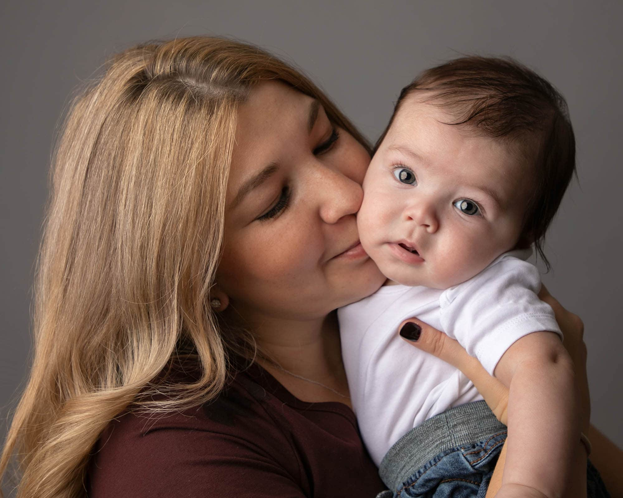 Older baby with mummy during photoshoot